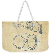 1891 Police Nippers Handcuffs Patent Artwork - Vintage Weekender Tote Bag