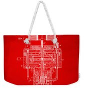 1894 Tesla Electric Generator Patent Red Weekender Tote Bag by Nikki Marie Smith