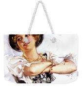 1900s 1913 Smiling German Girl Wearing Weekender Tote Bag