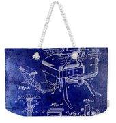 1901 Barber Chair Patent Drawing Blue Weekender Tote Bag