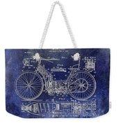 1901 Motorcycle Patent Drawing Blue Weekender Tote Bag