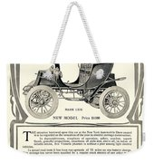 1907 - Columbia Victoria Phaeton Electric Automobile Advertisement Weekender Tote Bag