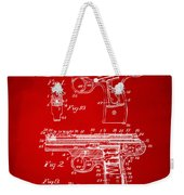 1911 Automatic Firearm Patent Artwork - Red Weekender Tote Bag