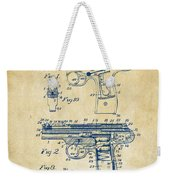 1911 Automatic Firearm Patent Artwork - Vintage Weekender Tote Bag by Nikki Marie Smith