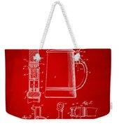 1914 Beer Stein Patent Artwork - Red Weekender Tote Bag by Nikki Marie Smith