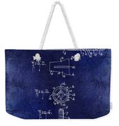 1915 Billiard Cue Patent Drawing Blue Weekender Tote Bag