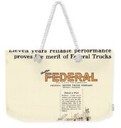 1921 - Federal Truck Advertisement - Color Weekender Tote Bag