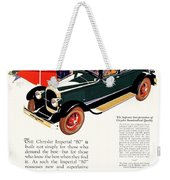1926 - Chrysler Imperial Convertible Model 80 Automobile Advertisement - Color Weekender Tote Bag