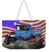 1929 Blue Chevy Truck And American Flag Weekender Tote Bag