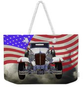 1929 Cord 6-29 Cabriolet Antique Car With American Flag Weekender Tote Bag