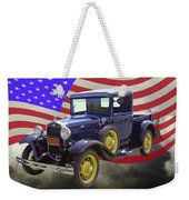 1930 Model A Ford Pickup Truck And American Flag Weekender Tote Bag