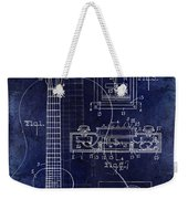 1937 Gibson Electric Guitar Patent Drawing Blue Weekender Tote Bag