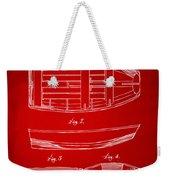 1938 Rowboat Patent Artwork - Red Weekender Tote Bag