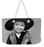 1940s Girl In Oversized Velvet Dress Weekender Tote Bag