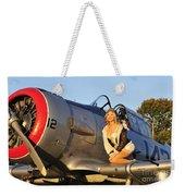 1940s Style Aviator Pin-up Girl Posing Weekender Tote Bag