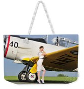 1940s Style Navy Pin-up Girl Leaning Weekender Tote Bag by Christian Kieffer