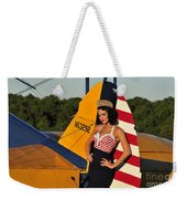 1940s Style Pin-up Girl Leaning Weekender Tote Bag by Christian Kieffer