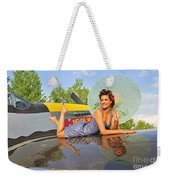 1940s Style Pin-up Girl With Parasol Weekender Tote Bag by Christian Kieffer