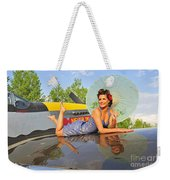 1940s Style Pin-up Girl With Parasol Weekender Tote Bag