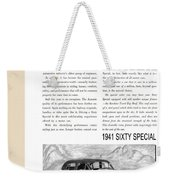 1941 Cadillac Fleetwood Sedan Vintage Ad Weekender Tote Bag