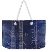 1941 Gibson Electric Guitar Patent Drawing Blue Weekender Tote Bag
