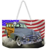 1948 Pontiac Silver Streak Woody And American Flag Weekender Tote Bag