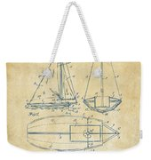 1948 Sailboat Patent Artwork - Vintage Weekender Tote Bag
