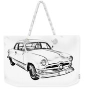 1950  Ford Custom Antique Car Illustration Weekender Tote Bag