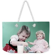1950s Little Girl Toddler And Baby Doll Weekender Tote Bag