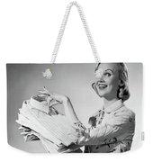 1950s Proud Smiling Woman Housewife Weekender Tote Bag