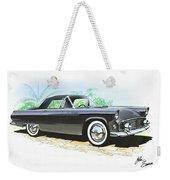 1956 Ford Thunderbird  Black  Classic Vintage Sports Car Art Sketch Rendering         Weekender Tote Bag