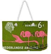 1958 Netherlands Antilles Flamingoes Stamp - Curacao Postmark Weekender Tote Bag