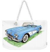 1959 Corvette Frost Blue Weekender Tote Bag