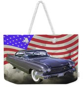 1960 Cadillac Luxury Car And American Flag Weekender Tote Bag