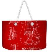 1961 Fender Guitar Patent Artwork - Red Weekender Tote Bag