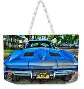 1963 Blue Corvette Stingray-front View Weekender Tote Bag