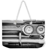 1963 Chevrolet Corvair Monza Spyder Headlight Emblem -0594bw Weekender Tote Bag