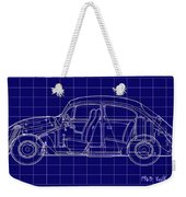 1963 Volkswagon Beetle Blueprint Weekender Tote Bag