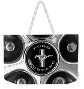 1965 Ford Mustang Gt Rim Black And White Weekender Tote Bag