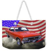 1966 Chevy Chevelle Ss 396 And United States Flag Weekender Tote Bag