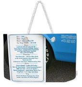 1970 Boss 429 Fact Placard Weekender Tote Bag