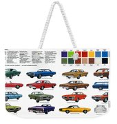 1970 Dodge Coronet Models And Colors Weekender Tote Bag