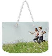 1970s Boy Girl Running Field Weekender Tote Bag
