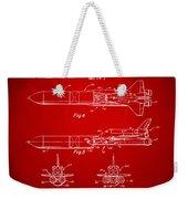 1975 Space Vehicle Patent - Red Weekender Tote Bag