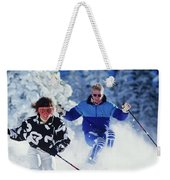1990s Couple Skiing Vail Colorado Usa Weekender Tote Bag