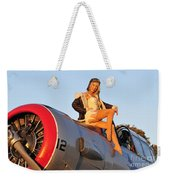 1940s Style Aviator Pin-up Girl Posing Weekender Tote Bag