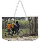 3 Young Children On A Cycle At The Side Of The Road Weekender Tote Bag
