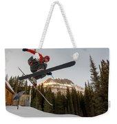 A Man Jumping On His Skis, San Juan Weekender Tote Bag
