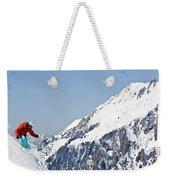 A Man Skis Untracked Powder Off-piste Weekender Tote Bag