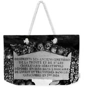 A Marker With Skulls And Bones In The Catacombs Of Paris France Weekender Tote Bag